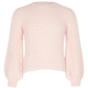 Pull en maille duveteuse rose à manches bouffantes pour fille