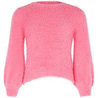 Girls pink balloon sleeve fluffy knit jumper