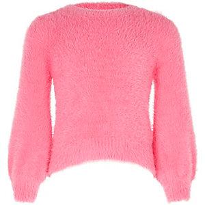 Roze pluizige gebreide pullover met ballonmouwen voor meisjes