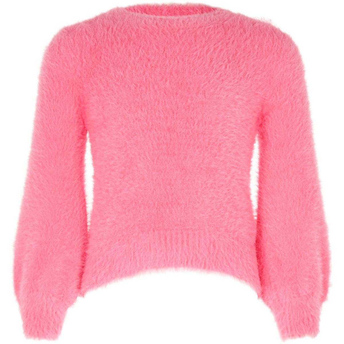 Girls pink balloon sleeve fluffy knit sweater