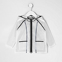 Mini girls black clear rain coat