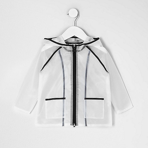 Mini girls black clear rain coat
