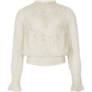 Girls white embroidered high neck shirred top