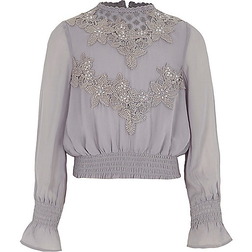Girls grey embroidered high neck shirred top