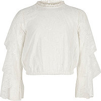 Girls white floral lace tiered sleeve top