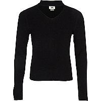 Girls black choker neck rib knit jumper