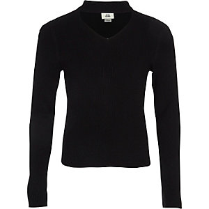 Girls black choker neck rib knit sweater