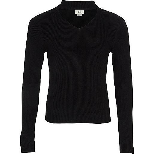 Girls black choker neck rib knit sweater