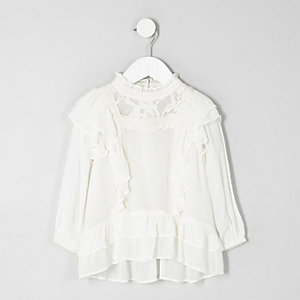 Mini girls cream floral lace frill top