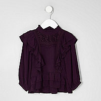 Mini girls frill lace long sleeve top