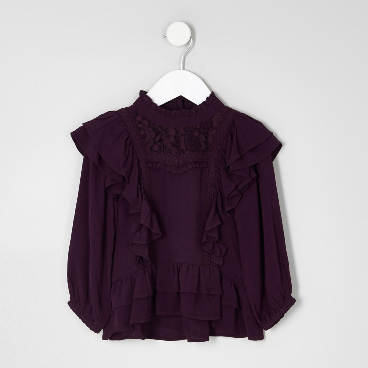 Mini girls frill lace long sleeve top