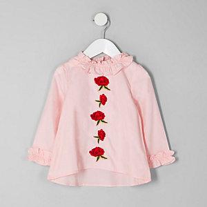 Mini - Roze top met ruches langs de hals en rozenapplicatie voor meisjes