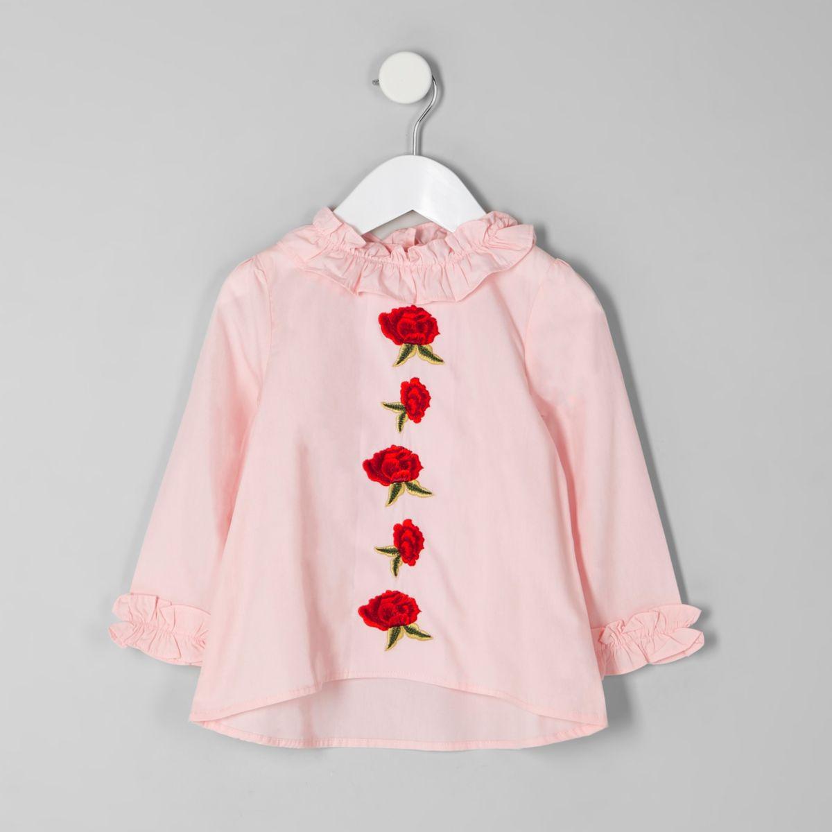 Mini girls pink rose applique ruffle neck top