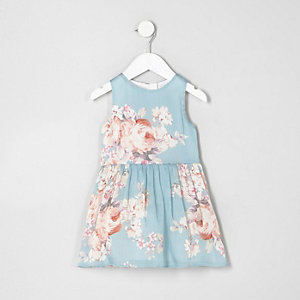 Mini girls blue floral print sleeveless dress