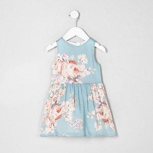 Mini - Blauwe mouwloze jurk met bloemenprint voor meisjes