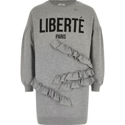 River Island Grijze sweatshirtjurk met ruches en 'liberte'-print voor meisjes