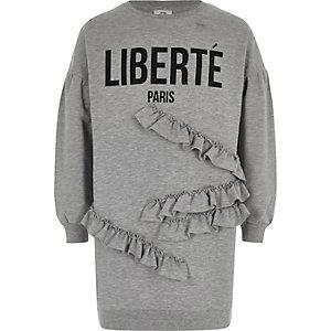 Grijze sweatshirtjurk met ruches en 'liberte'-print voor meisjes