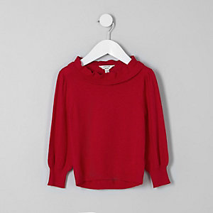 Mini girls red frill layered neck sweater