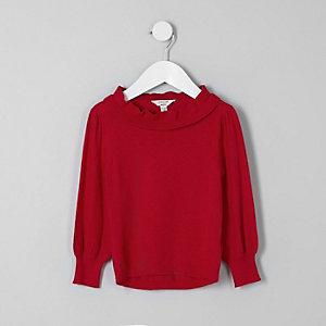 Mini - Rode pullover met ruches en gelaagde hals voor meisjes