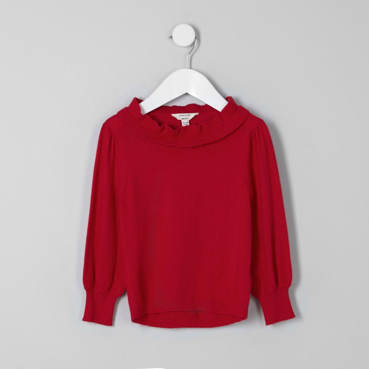 Mini girls red frill layered neck sweater