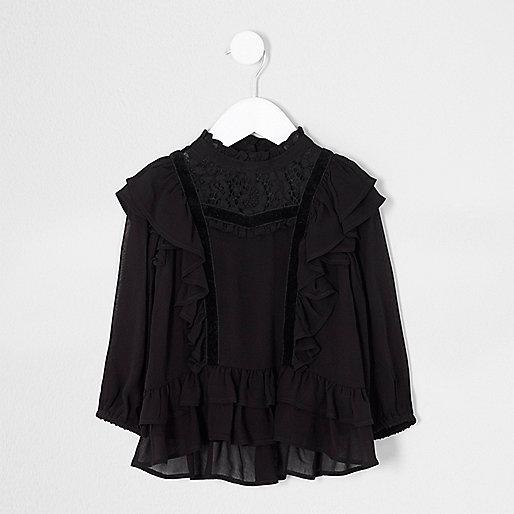 Mini girls black frill lace high neck top