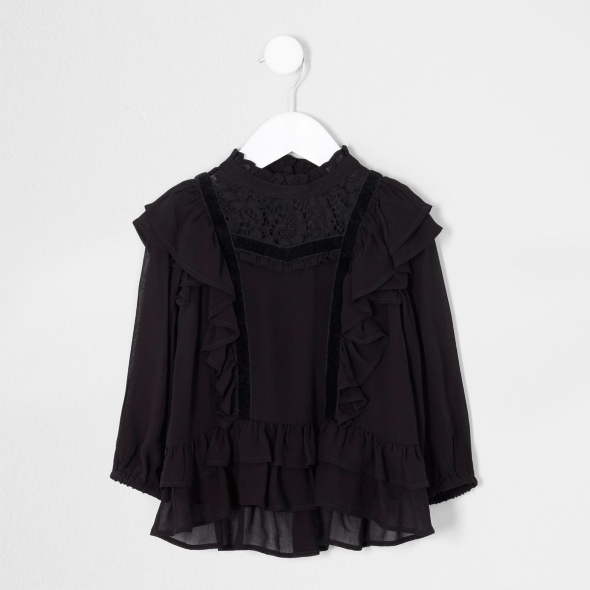 Mini girls black frill lace high neck top