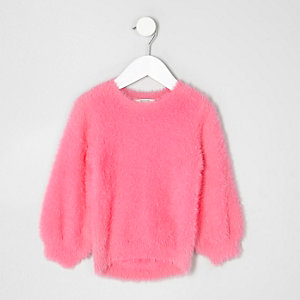Pull rose duveteux mini fille