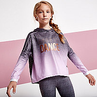 Girls grey ombre 'dance' mesh back hoodie