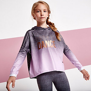 Girls grey ombre 'dance' mesh back hoodie