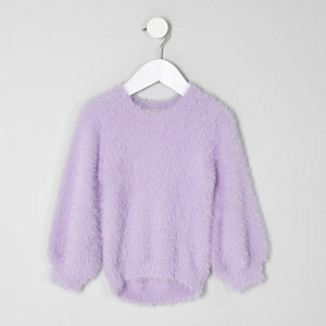 Mini girls purple fluffy jumper