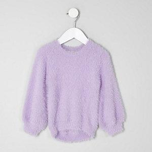 Pull duveteux violet mini fille