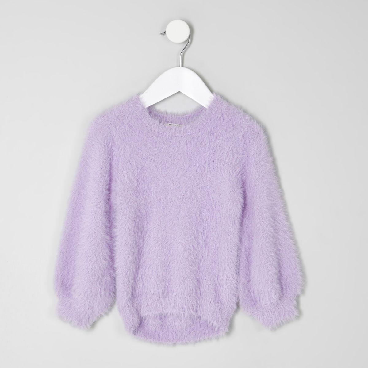Mini girls purple fluffy jumper