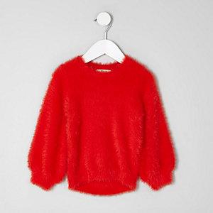 Mini - Rode pluizige pullover voor meisjes