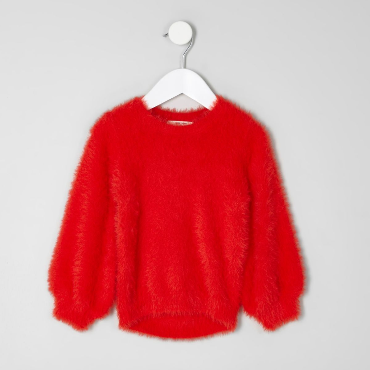 Mini girls red fluffy jumper