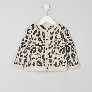 Mini girls cream leopard print cardigan