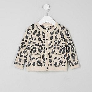 Mini girls cream leopard print cardigan