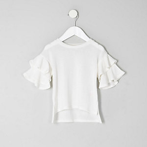 Mini girls white frill sleeve top