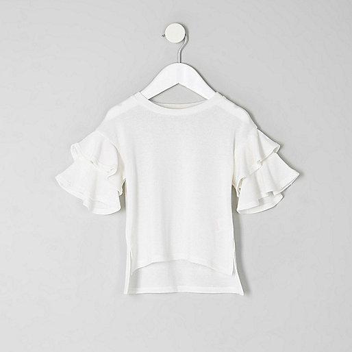 Mini girls white frill sleeve top