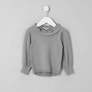 Mini - Grijze pullover met ruches en gelaagde hals voor meisjes