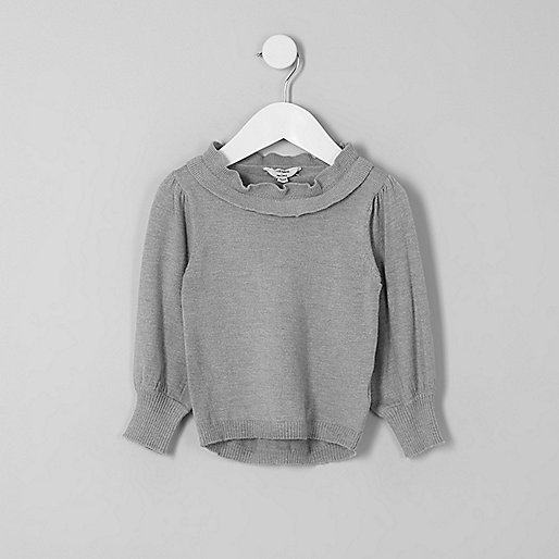 Mini girls grey frill layered neck jumper