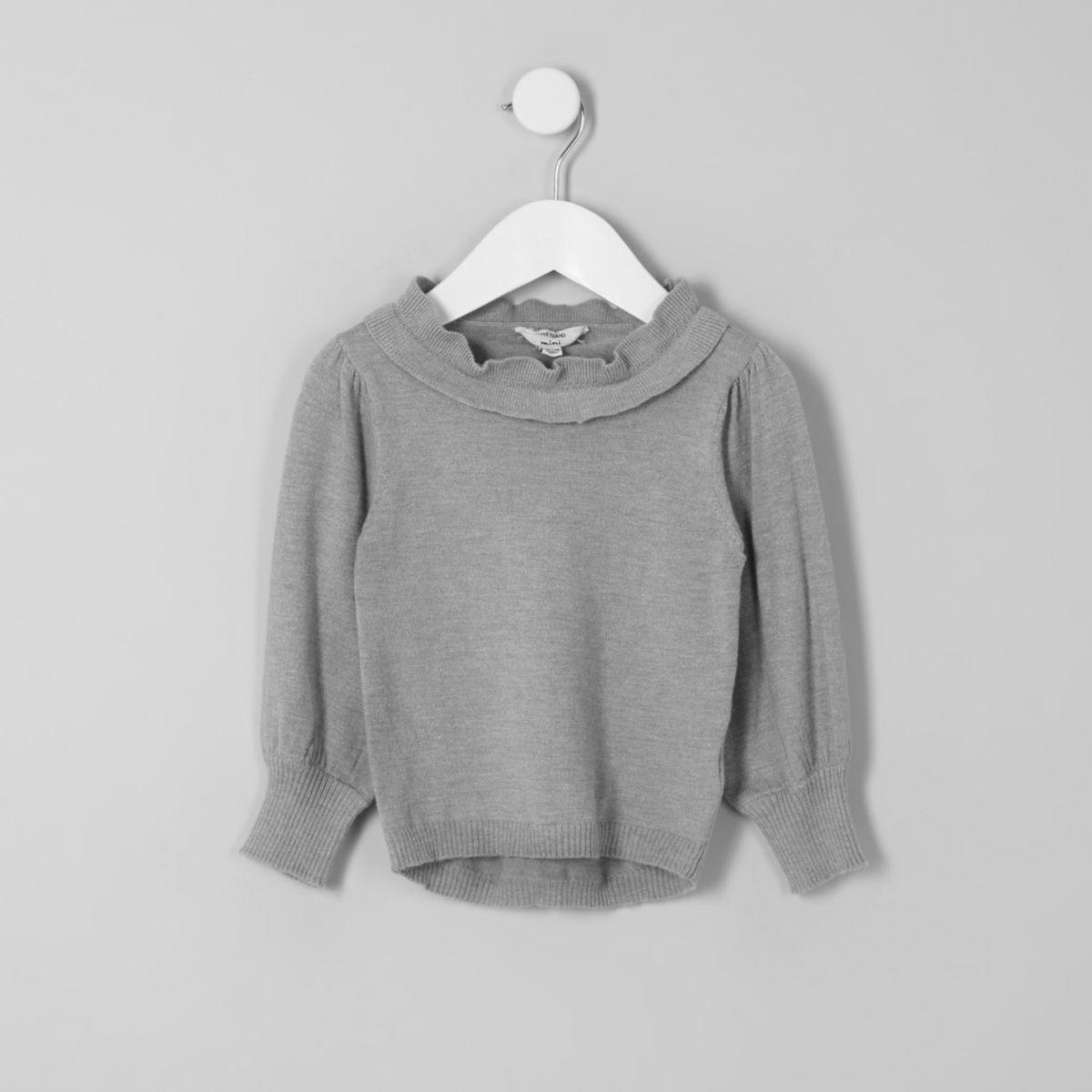 Mini girls grey frill layered neck sweater