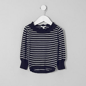 Mini girls navy stripe frill neck sweater