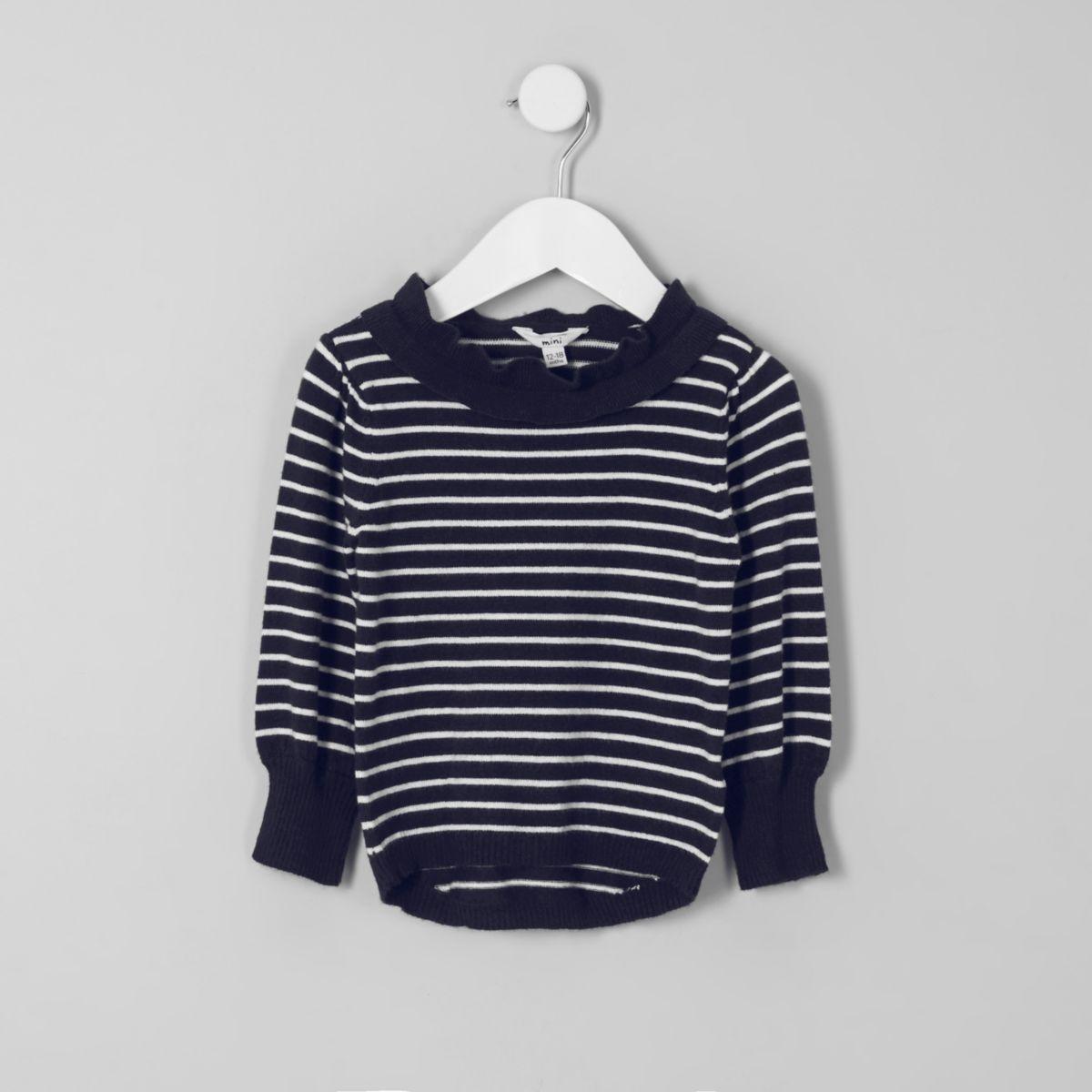 Mini girls navy stripe frill neck jumper