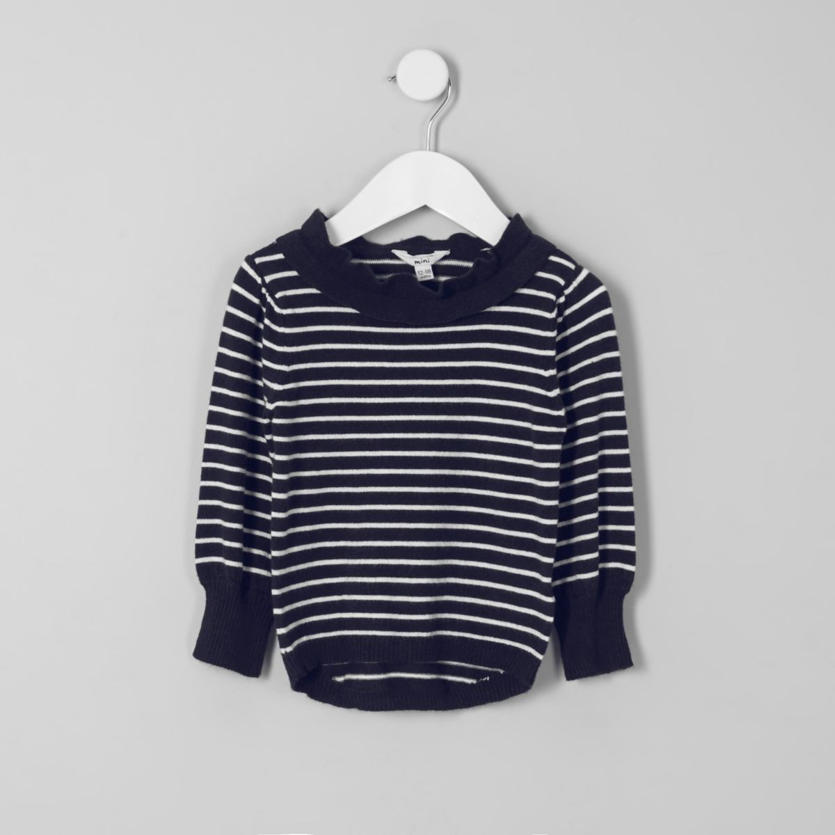 Mini girls navy stripe frill neck sweater