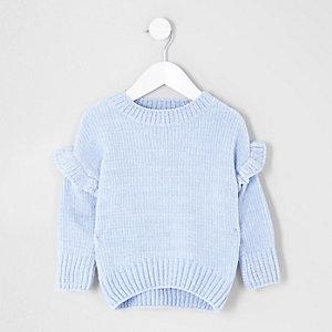 Mini - Blauwe chenille pullover met ruches voor meisjes