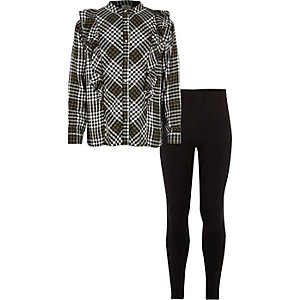 Girls khaki check ruffle shirt outfit