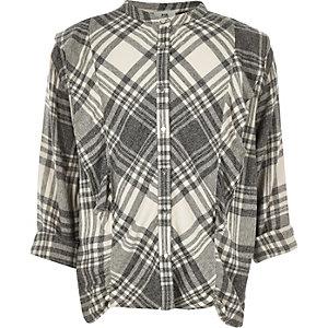Chemise à carreaux gris à volants pour fille