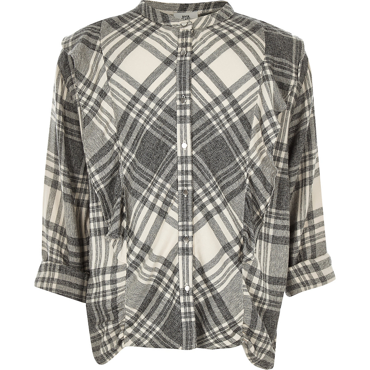 Girls grey check frill shirt