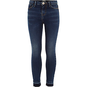 Girls blue Amelie released hem jeans