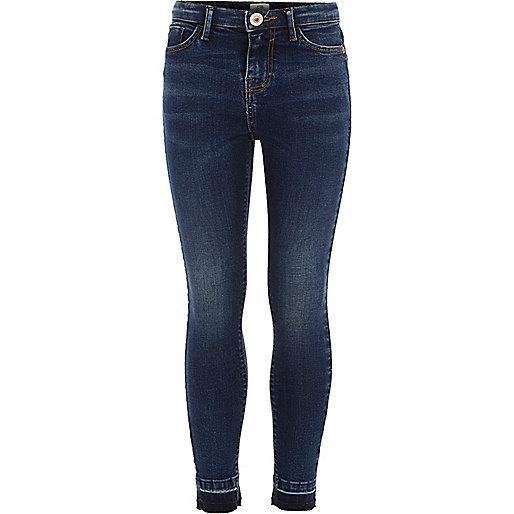 Girls blue Amelie released hem jeans